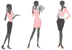 vector image of a business woman in a light pink dress