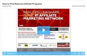 Affiliate programs, video screenshot