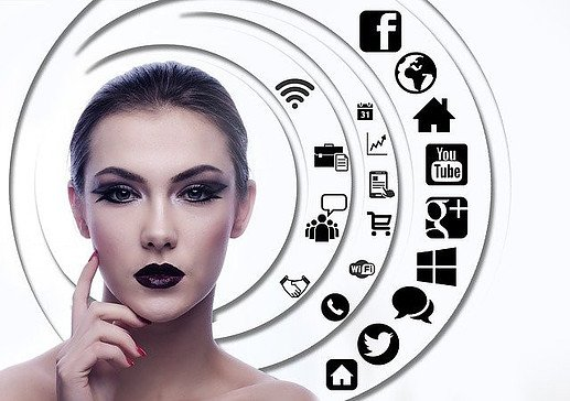woman in a circle of social media icoons