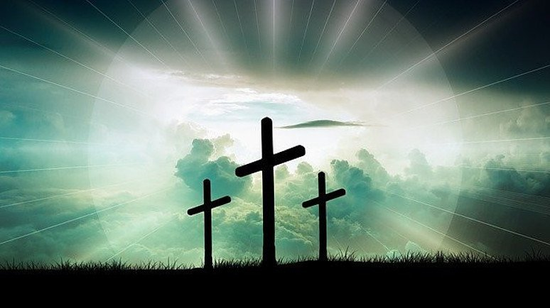 three crosses symbolize Jesus and the two murderers