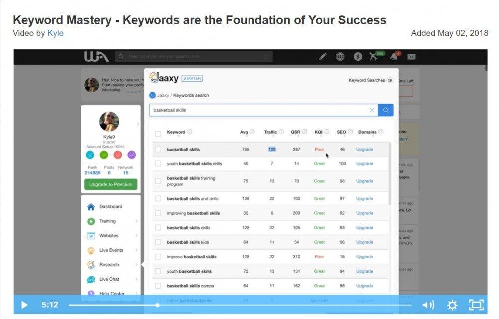Jaaxy video, screenshot