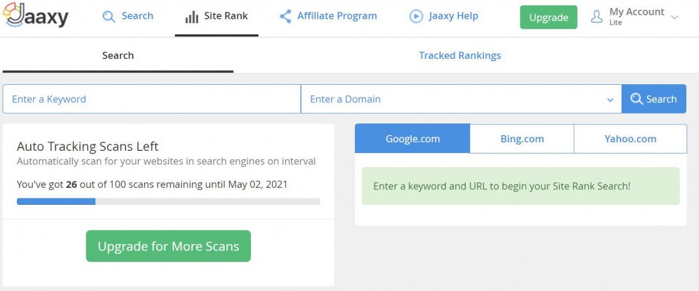 Site rank feature of Jaaxy,screenshot